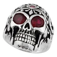 Regal Rogue Simulated Garnet Red Cubic Zirconia Eyes Skull Ring Sterling Silver 925