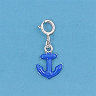 Blue Anchor Add On Charm Sterling Silver 21MM