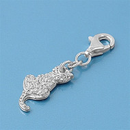 Cat Add On Charm Sterling Silver 14MM
