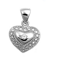 Heart Cubic Zirconia Pendant Sterling Silver 13MM