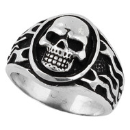 Flaming Medallion Skull Ring Sterling Silver 925