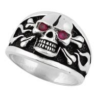 Flaming Danger Skull Ring Sterling Silver 925 Simulated Garnet Red Cubic Zirconia Eyes