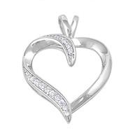 Heart Cubic Zirconia Pendant Sterling Silver 29MM