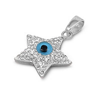 Superstar Evil Eye Pendant Cubic Zirconia Sterling Silver 17MM