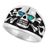 Flaming Danger Skull Sterling Silver 925 Simulated Aqua Blue Cubic Zirconia Eyes