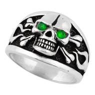 Flaming Danger Skull Sterling Silver 925 Green Cubic Zirconia Eyes