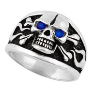 Flaming Danger Skull Sterling Silver 925 Simulated Sapphire Blue Cubic Zirconia Eyes