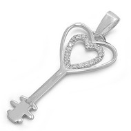 Unlock My Heart Pendant Cubic Zirconia Sterling Silver 39MM