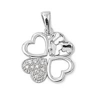 Aureate Four Leaf Clover Heart Pendant Cubic Zirconia Sterling Silver 20MM