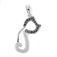 Alley Cat Pendant Black Cubic Zirconia Sterling Silver 22MM