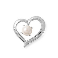 Simulated Pearl in my Heart Pendant Cubic Zirconia Sterling Silver 19MM
