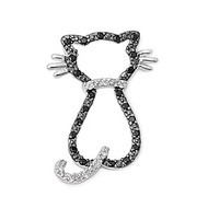 Black Cat Pendant Cubic Zirconia Sterling Silver 24MM
