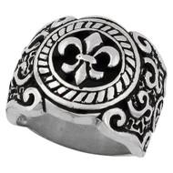 Coat of Arms Fleur de Lis Ring Sterling Silver 925
