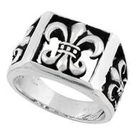 Anarchist Fleur de Lis Ring Sterling Silver 925