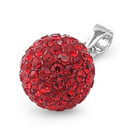 Swarovski Simulated Crystal Pave Sphere Pendant Sterling Silver Simulated Ruby Red 10MM