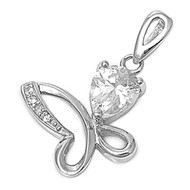 Iced Butterfly Pendant Cubic Zirconia Sterling Silver 14MM