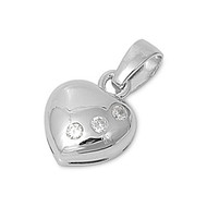 3 Person in my Heart Pendant Cubic Zirconia Sterling Silver 14MM