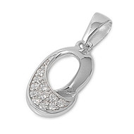 O Pendant Cubic Zirconia Sterling Silver 20MM