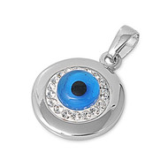 All Seeing Evil Eye Pendant Cubic Zirconia Sterling Silver 20MM