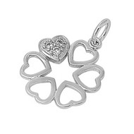 Only One That Fills My Heart Pendant Cubic Zirconia Sterling Silver 19MM