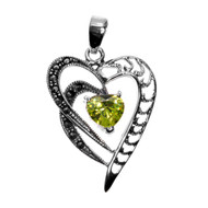 Heart-Shaped Simulated Peridot Cubic Zirconia Center Simulated Marcasite Heart Pendant Sterling Silver 33MM