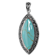 Sterling Silver Simulated Marcasite Pendant Simulated Turquoise 47MM