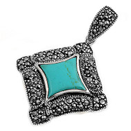 Sterling Silver Simulated Marcasite Pendant Simulated Turquoise 15MM