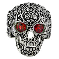 Dia De Muertos Floral Skull Sterling Silver 925 Simulated Ruby Red Cubic Zirconia Eyes