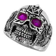 Barbarian Warlord Skull Sterling Silver 925 Purple Cubic Zirconia Eyes