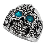 Barbarian Warlord Skull Sterling Silver 925 Simulated Aqua Blue Cubic Zirconia Eyes