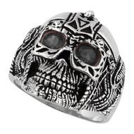 Barbarian Warlord Skull Sterling Silver 925 Black Cubic Zirconia Eyes