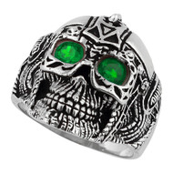 Barbarian Warlord Skull Sterling Silver 925 Green Cubic Zirconia Eyes