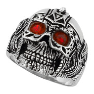 Barbarian Warlord Skull Sterling Silver 925 Simulated Ruby Red Cubic Zirconia Eyes
