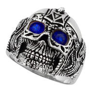 Barbarian Warlord Skull Sterling Silver 925 Simulated Sapphire Blue Cubic Zirconia Eyes