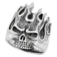 Fire Demon Skull Ring Sterling Silver 925
