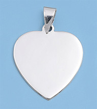 Flat Heart Pendant Sterling Silver 21MM