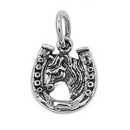 Horseshoe for Lucky Aura Pendant Sterling Silver 13MM