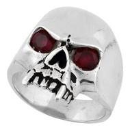 Vampire of Hell Skull Ring Sterling Silver 925 Simulated Garnet Red Cubic Zirconia Eyes