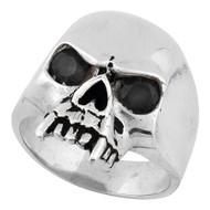 Vampire of Hell Skull Sterling Silver 925 Black Cubic Zirconia Eyes