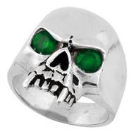 Vampire of Hell Skull Sterling Silver 925 Green Cubic Zirconia Eyes