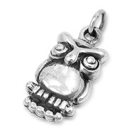 Owl Pendant Sterling Silver 23MM