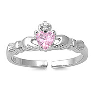 Benediction of Claddagh Heart Knuckle / Toe Ring Pink Cubic Zirconia Sterling Silver 7MM