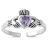 Claddagh Benediction Heart Knuckle / Toe Ring Simulated Amethyst Cubic Zirconia Sterling Silver 7MM