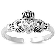 Claddagh Benediction Heart Knuckle / Toe Ring Clear Cubic Zirconia Sterling Silver 7MM