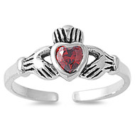 Claddagh Benediction Heart Knuckle / Toe Ring Simulated Garnet Cubic Zirconia Sterling Silver 7MM
