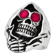 Grim Reaper Death Skull Sterling Silver 925 Simulated Garnet Red Cubic Zirconia Eyes