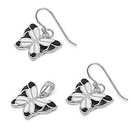 Butterfly Simulated Onyx Matching Set Sterling Silver 14MM