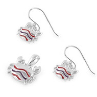 Crab Matching Set Sterling Silver 12MM