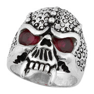 Serpentine Demon Skull Ring Sterling Silver 925 Simulated Garnet Red Cubic Zirconia Eyes