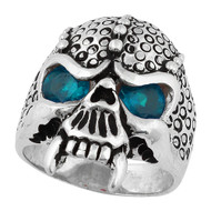 Serpentine Demon Skull Sterling Silver 925 Simulated Aqua Blue Cubic Zirconia Eyes